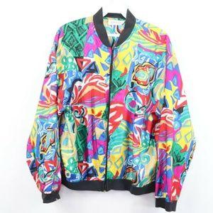 Vintage Abstract Geometric Silk Bomber Jacket M